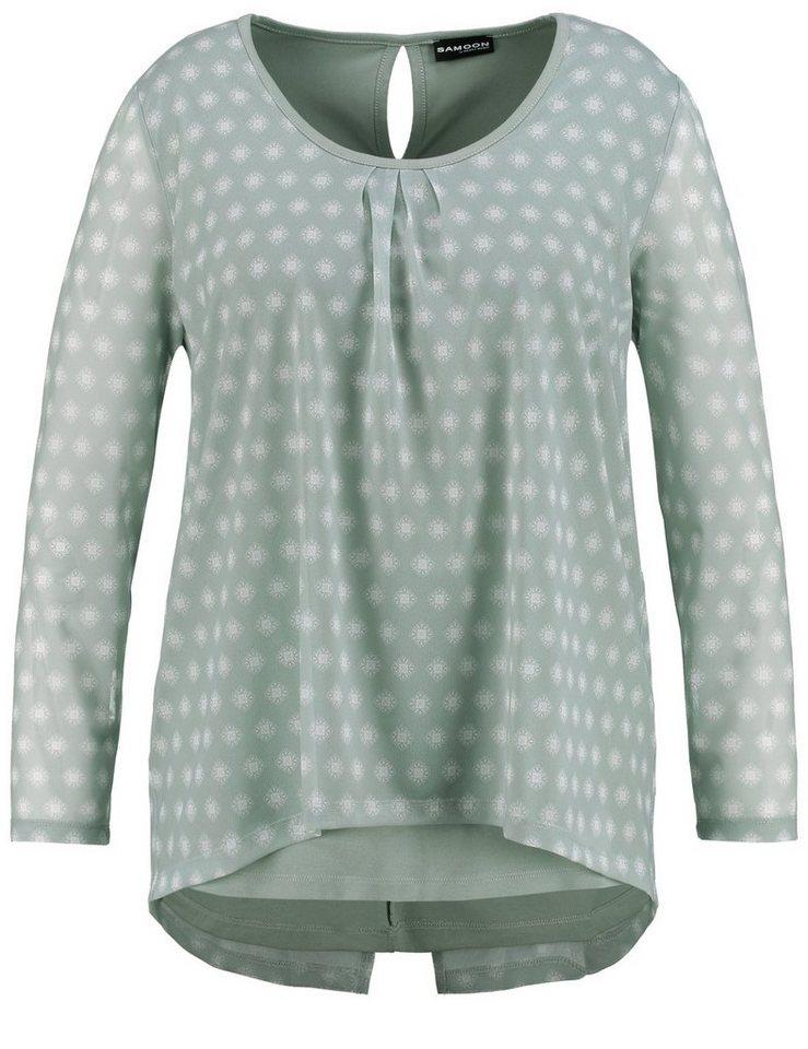 Samoon T-Shirt Langarm Rundhals »Bluse im Layering-Look« in Eis Grün Druck