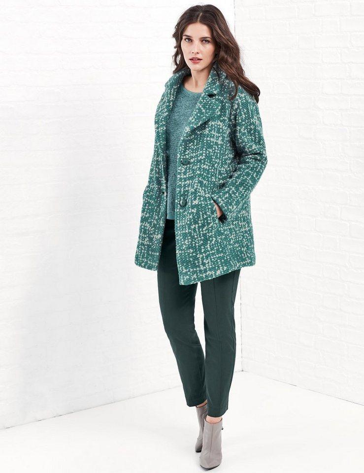 Samoon Outdoorjacke Wolle »Longjacke in O-Form« in Grün gemustert
