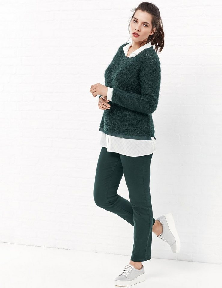 Samoon Pullover Langarm Rundhals »Flauschiger Pullover« in Frosty Green