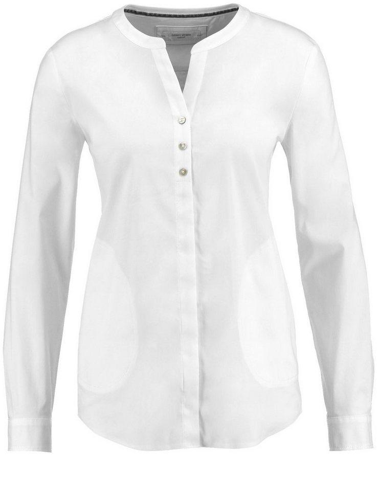 Gerry Weber Bluse Langarm »Bluse mit offenem Ausschnitt« in Weiß-Weiß