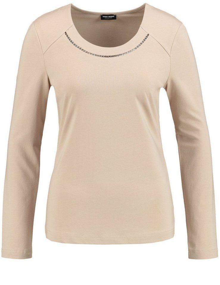 Gerry Weber T-Shirt Langarm Rundhals »Langarmshirt mit Schmuckdetail« in Camel