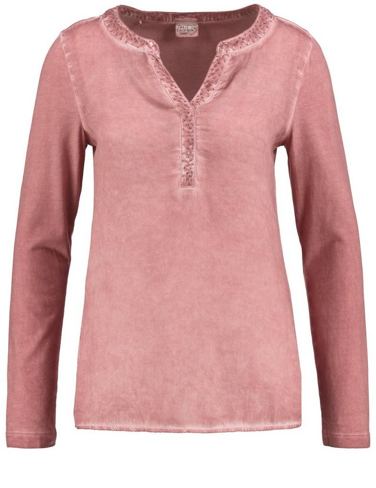 Taifun T-Shirt Langarm Rundhals »Lässiges Shirt mit Blusen-Front« in Dusty Rose