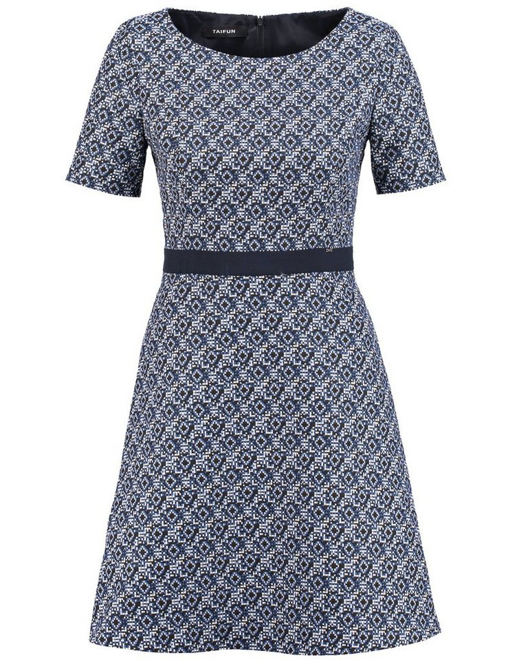 Taifun Kleid Langarm kurz »Taillenbetontes Jacquard-Kleid« in Königsblau gemustert