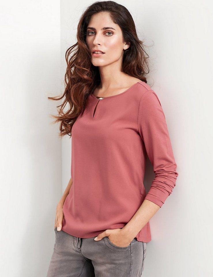 Taifun T-Shirt Langarm Rundhals »Shirt mit Blusen-Front« in Cranberry