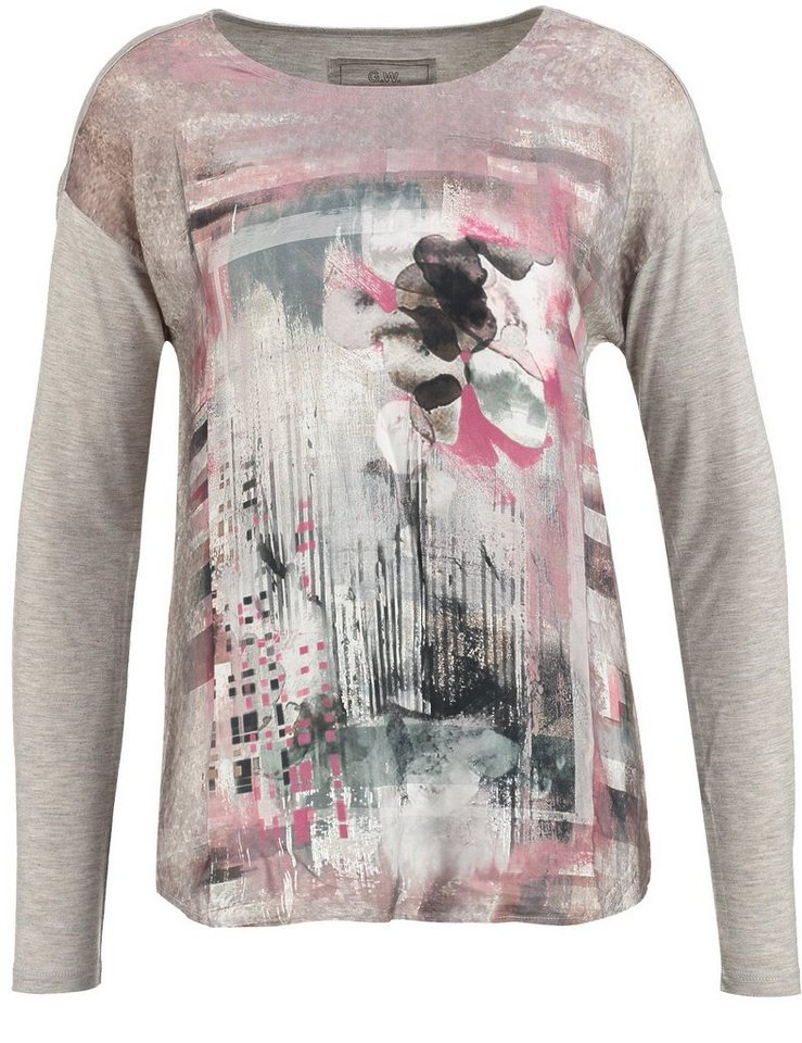 Gerry Weber T-Shirt Langarm Rundhals »Shirt mit Frontdruck« in Grey-Almond-Purple-P