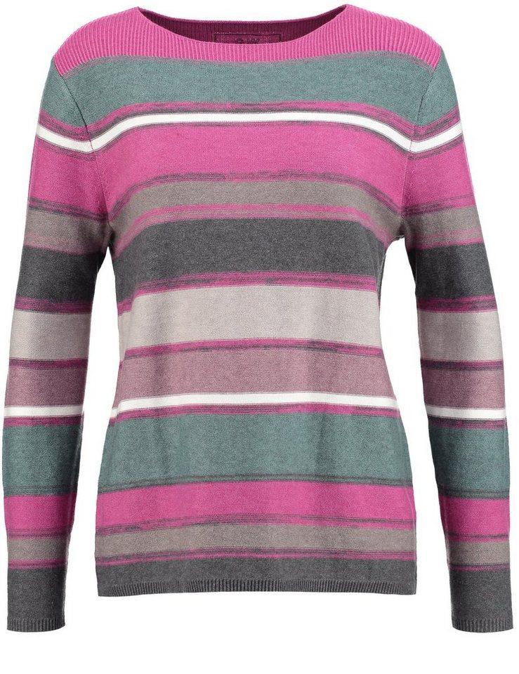 Gerry Weber Pullover Langarm Rundhals »Pullover mit Streifendessin« in Purple-Grey-Almond-M