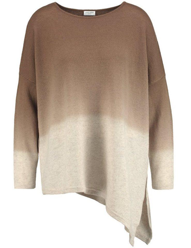 Gerry Weber Pullover Langarm Rundhals »Pullover mit asymmetrischem Schnitt« in Ecru-Weiß-Braun Gemu