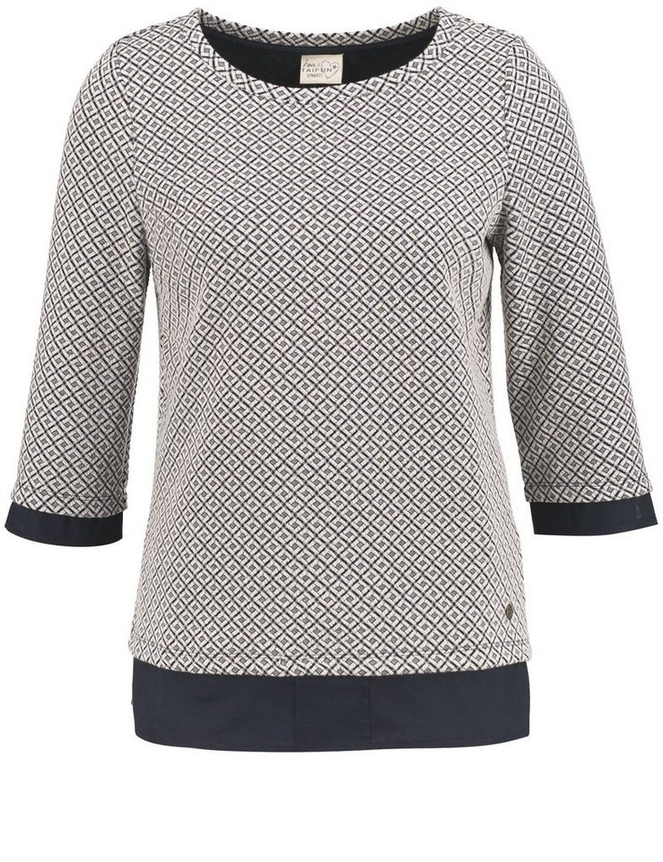 Taifun T-Shirt 3/4 Arm Rundhals »Jacquard-Shirt im Layering-Look« in Kreide gemustert