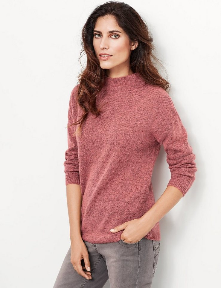 Taifun Pullover Langarm Rundhals »Pullover« in Cranberry