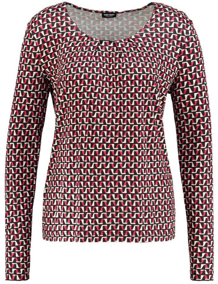 Gerry Weber T-Shirt Langarm Rundhals »Langarmshirt mit grafischem Muster« in Schwarz-Rot-Orange D