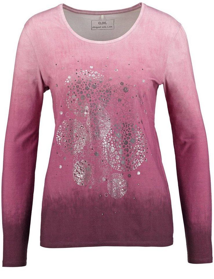 Gerry Weber T-Shirt Langarm Rundhals »Langarmshirt mit modischen Details« in Purple-Orchid-Degrad