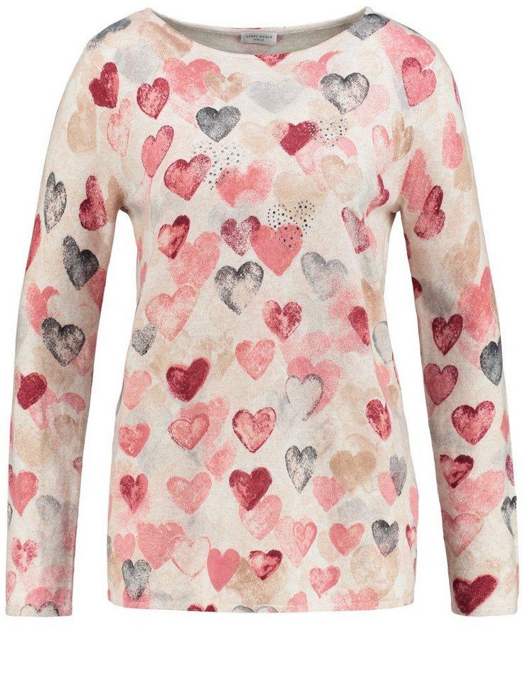 Gerry Weber Pullover Langarm Rundhals »Pullover mit Herzen« in Ecru-Weiß-Lila-Pink