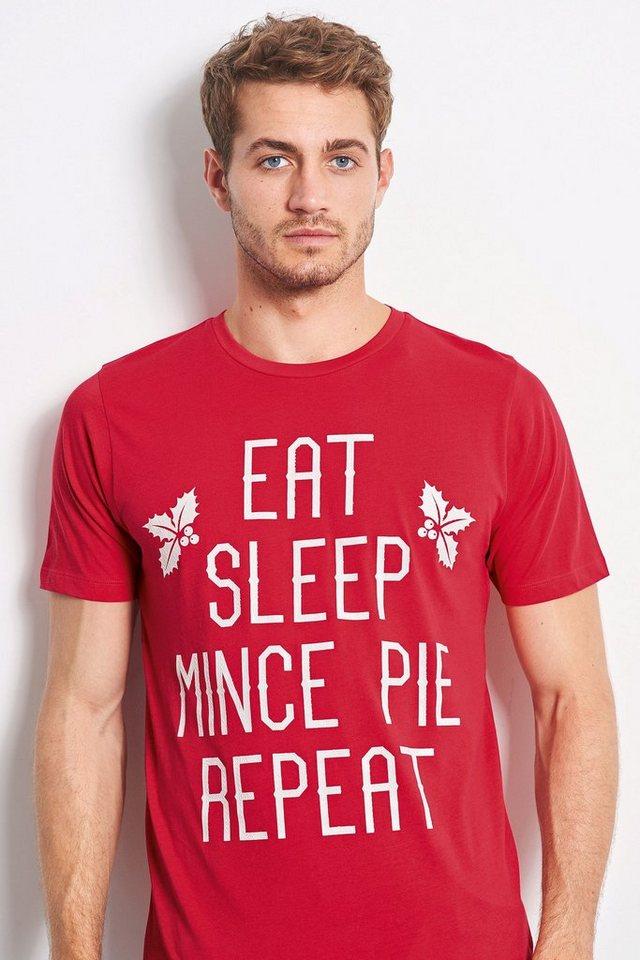 Next T-Shirt mit Weihnachtsslogan in Red