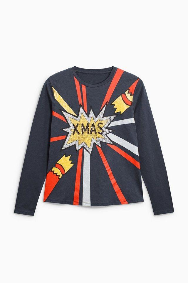 Next Pullover mit Weihnachtsmotiv in Blue
