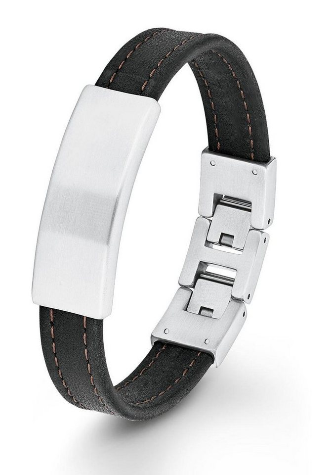 s.Oliver RED LABEL Lederarmband »2012583« in silberfarben-schwarz