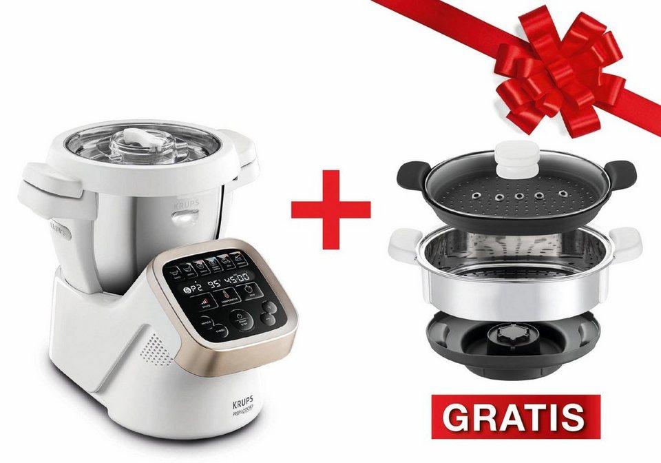 Krups Multifunktions-Küchenmaschine, HP5031.XMAS Prep&Cook,inkl. Dampfgaraufsatz + 100€ Gutschein in Weiß / Grau / Edelstahl gebürstet