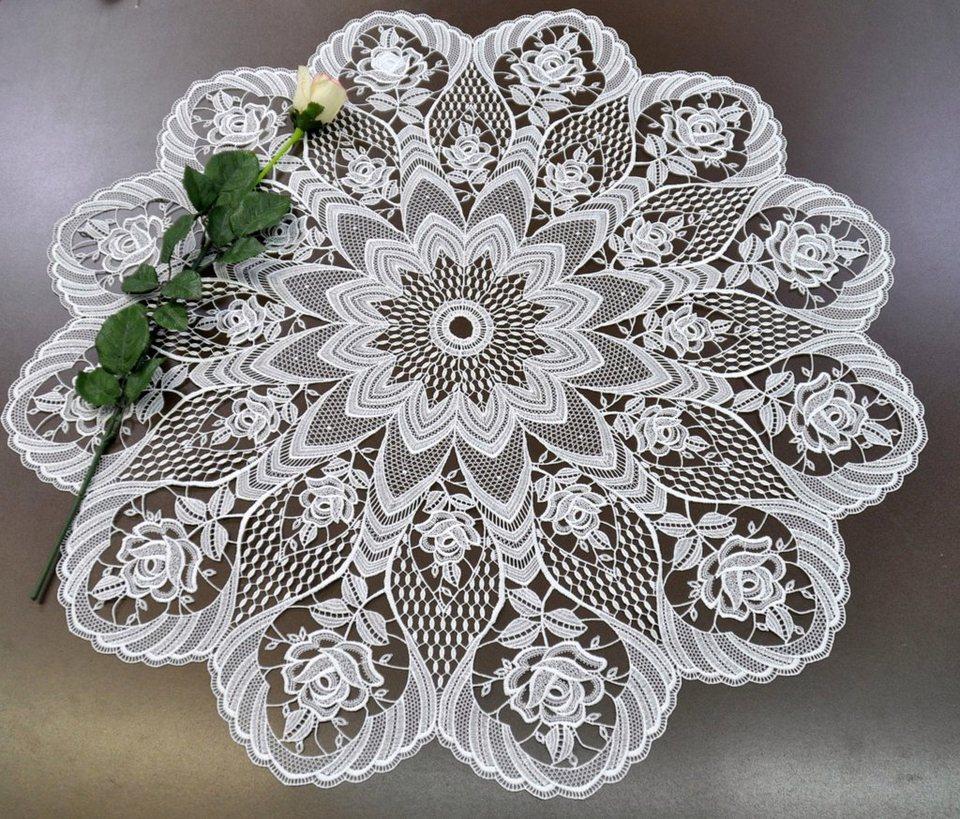 Tischdecke, Stickereien Plauen, »Rosentraum« in wollweiß