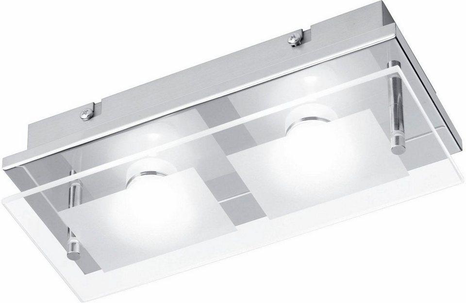 Paul Neuhaus LED-Deckenleuchte, 2flg., »CHIRON« in Metall, chromfarben, Glas teilsatiniert