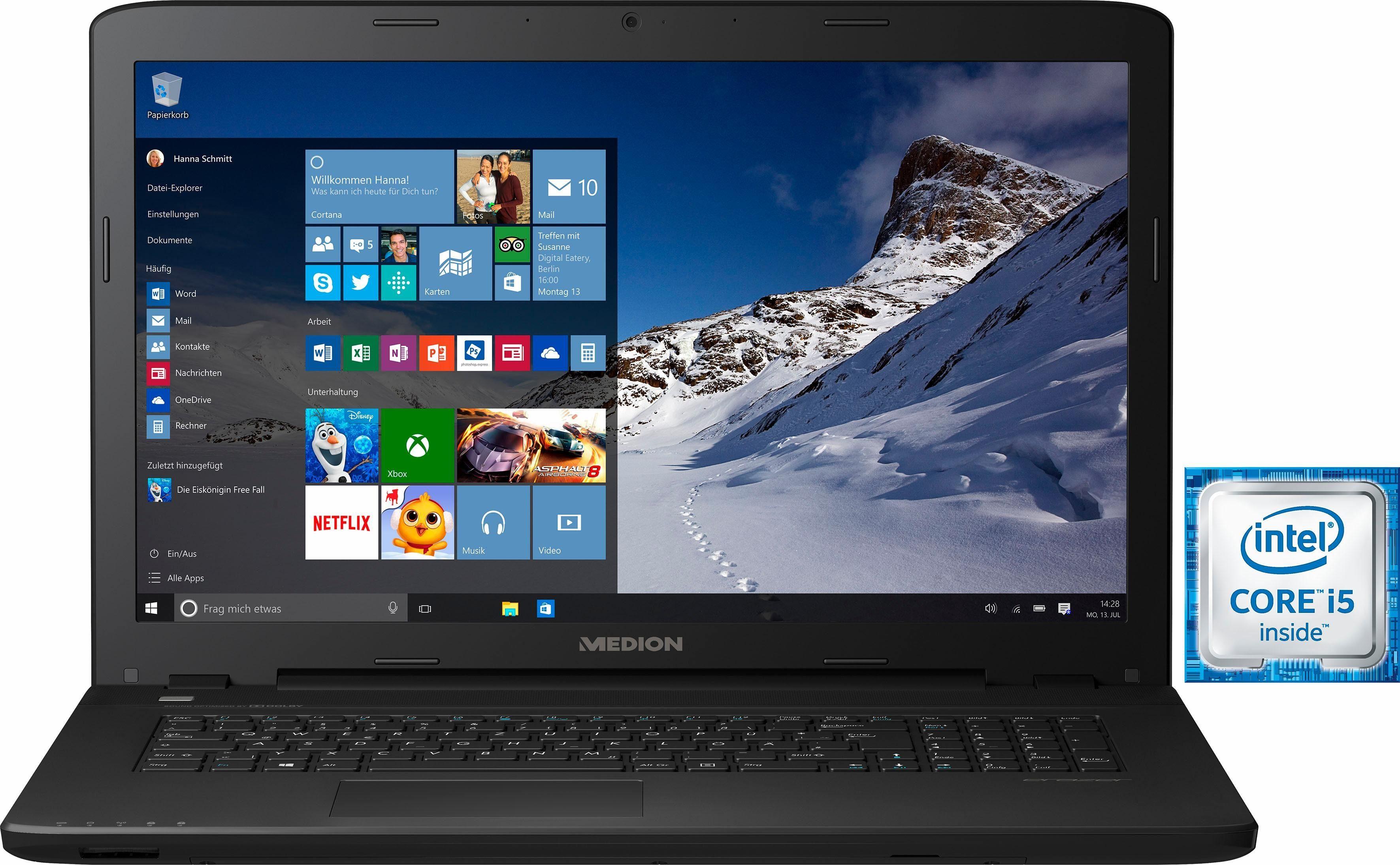 Medion® P7643 Notebook, Intel® Core™ i5, 43,9 cm (17,3 Zoll), 8192 MB DDR3-RAM
