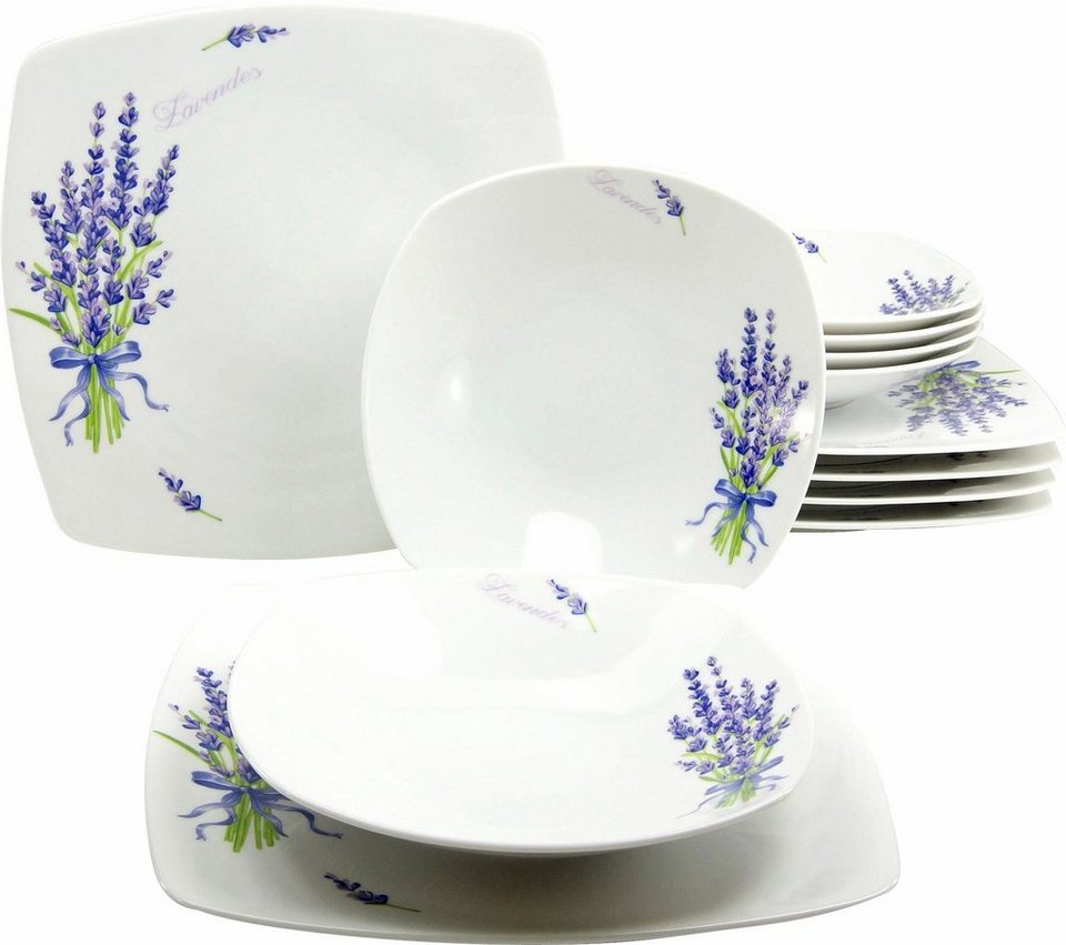 CreaTable Tafelservice Porzellan, »DAKAR« (12tlg.) in weiß/fliederfarben