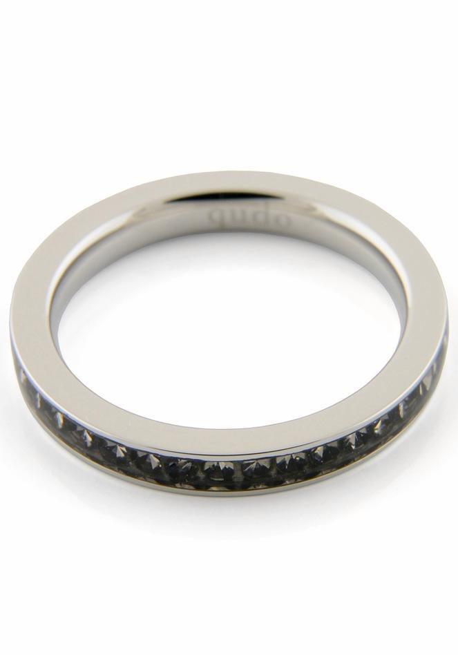 qudo Fingerring »Nueva Deluxe, 626449, 626451, 626452, 626454« mit Swarovski® Kristallen in silberfarben-grau