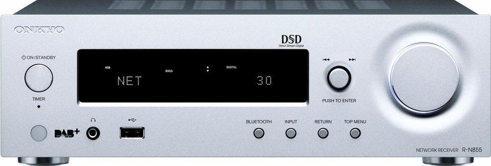 Onkyo R-N855 2 Audio-Receiver (Hi-Res, Deezer, Spotify, Airplay, WLAN, Bluetooth) in silberfarben