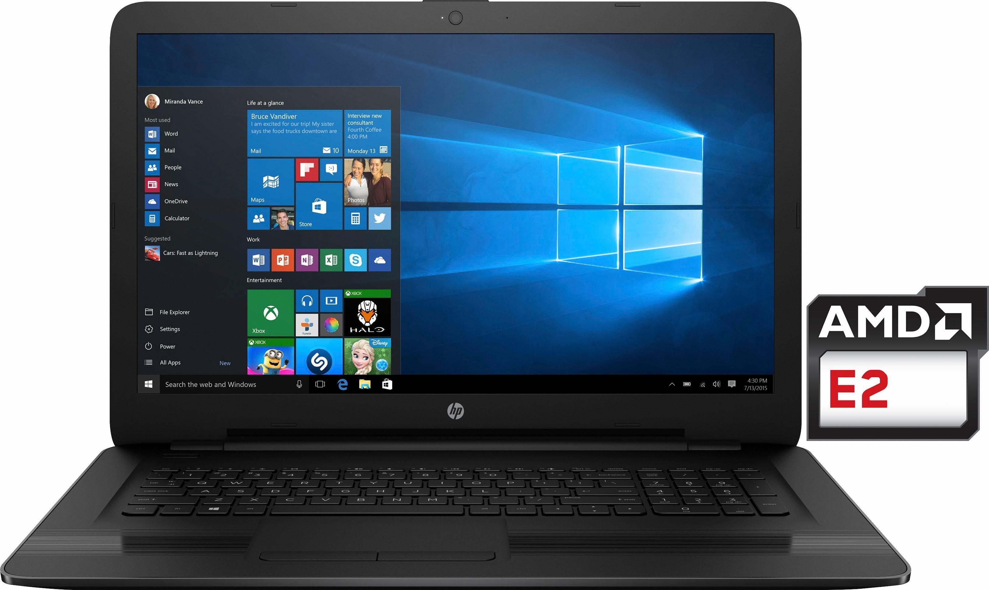 HP 17-y058ng Notebook, AMD E2, 43,9 cm (17,3 Zoll), 500 GB Speicher, 4096 MB DDR3L-SDRAM