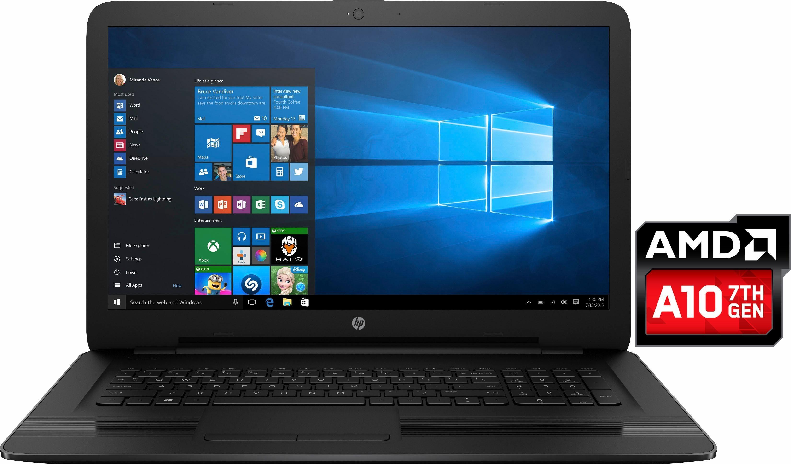HP 17-y050ng Notebook, AMD Quad Core A10, 43,9 cm (17,3 Zoll), 1000 GB Speicher, 8192 MB DDR4-RAM