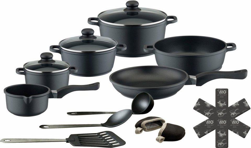Topf-Set, Aluguss, 1 Paar Henkelpads GRATIS, »Black Cast«, M&K (15tlg.) in schwarz
