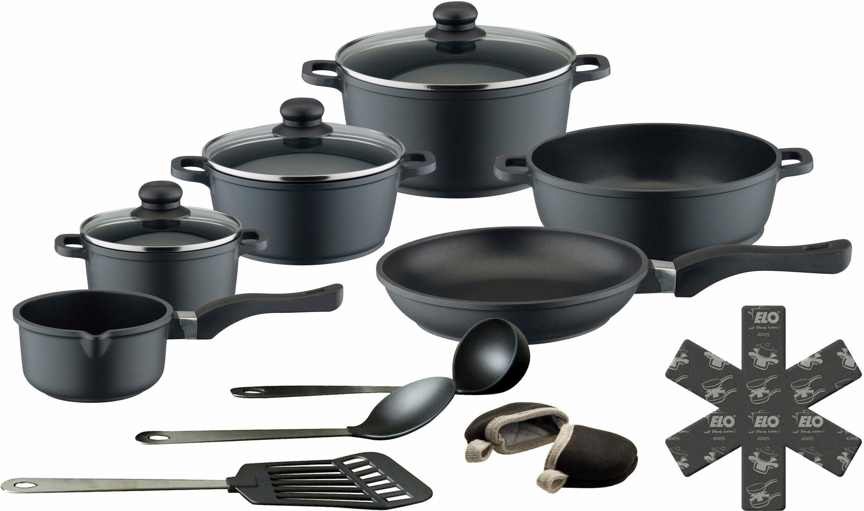 Topf-Set, Aluguss, 1 Paar Henkelpads GRATIS, »Black Cast«, Meine Küche (15tlg.)
