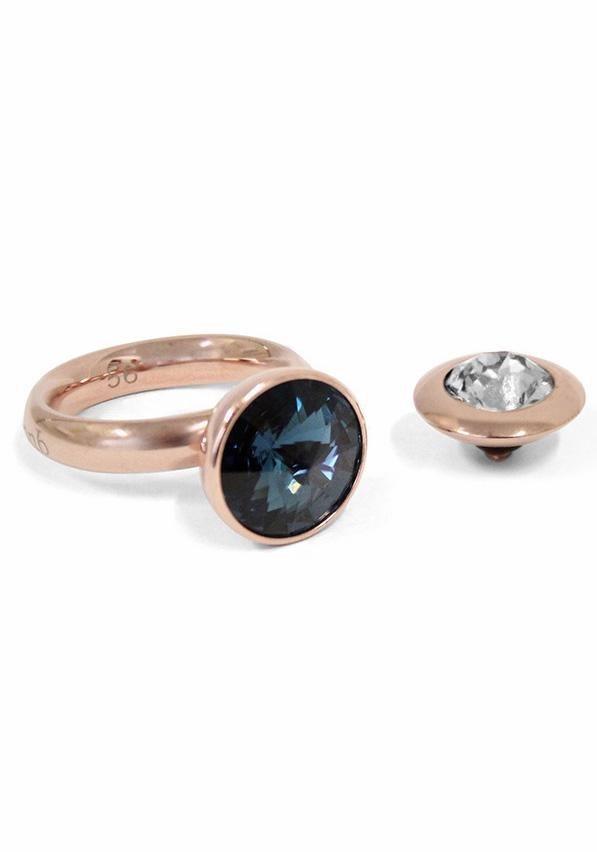 qudo Fingerring »Famosa, O600019, O630021, O630022, O600024« mit Swarovski® Kristallen (Set, 3 tlg.) in roségoldfarben-blau-weiß