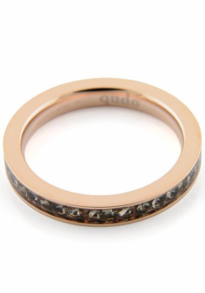 qudo Fingerring »Nueva Deluxe, 626461, 626463, 626464, 626466« mit Swarovski® Kristallen in roségoldfarben-grau
