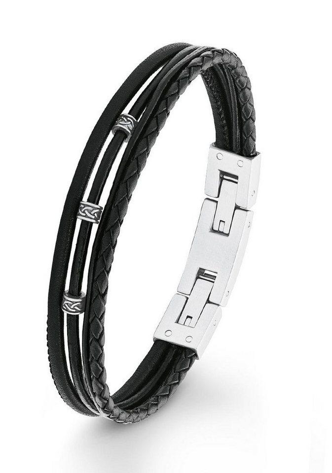 s.Oliver RED LABEL Lederarmband »2012576« in silberfarben-grau-schwarz