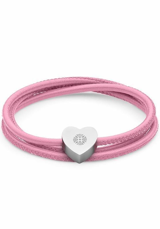 qudo Wickelarmband »Herz, Riola, 156281« in silberfarben-pink