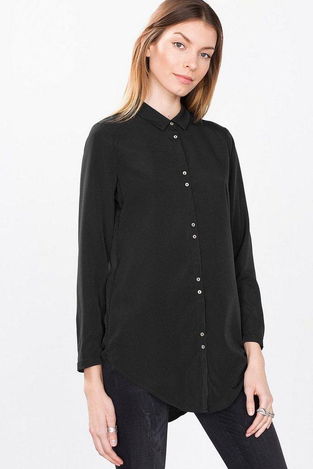 ESPRIT CASUAL Fließende Long-Bluse im Hemden-Stil in BLACK