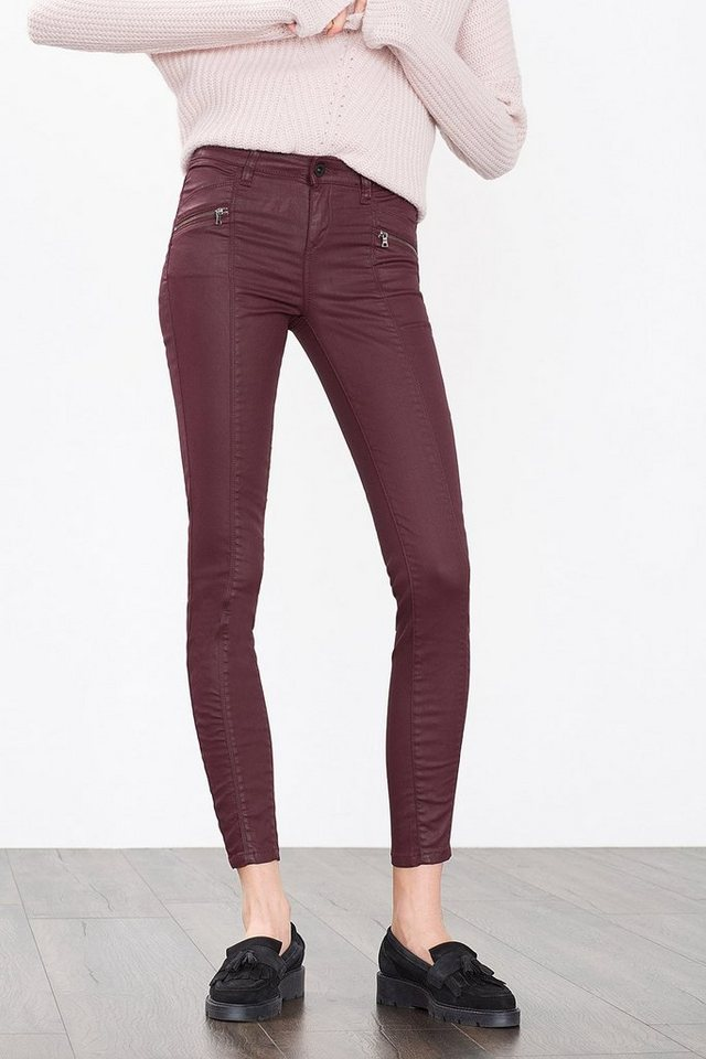ESPRIT CASUAL Coated Stretch-Pant mit Zierzippern in BORDEAUX RED