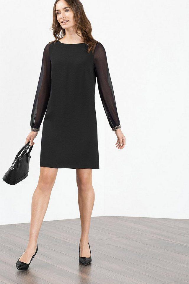 ESPRIT COLLECTION Crepe-Kleid mit Glam-Georgetteärmeln in BLACK