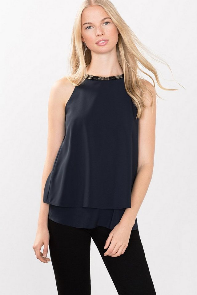 ESPRIT CASUAL Blusen-Stretch-Top mit Schmuck-Kragen in NAVY