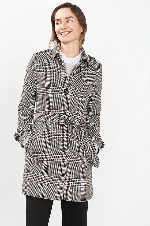 ESPRIT COLLECTION Karomantel in Trench-Form in BLACK