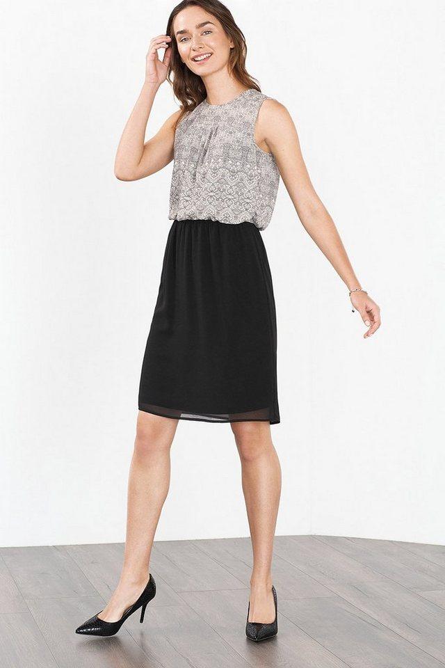 ESPRIT COLLECTION Fließendes Print-Kleid aus Crepe-Chiffon in BLACK