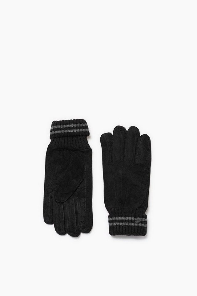 ESPRIT CASUAL Veloursleder Handschuhe mit Fleece Futter in BLACK