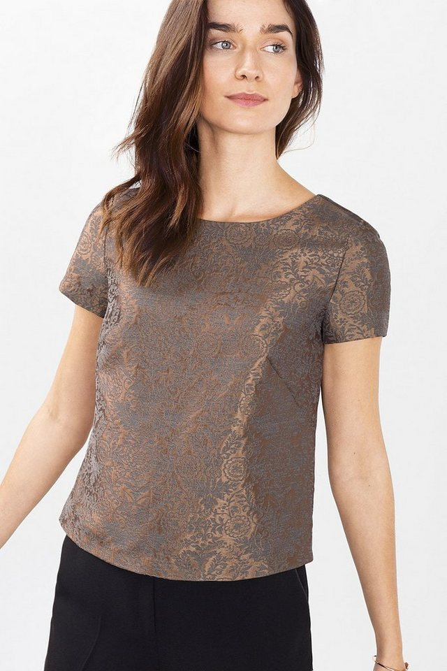 ESPRIT COLLECTION Shirt aus Glanz-Jacquard in COPPER