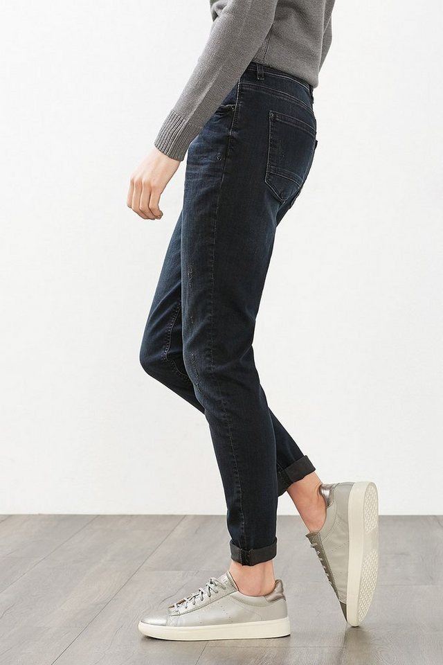 ESPRIT CASUAL Stretch-Denim mit trendiger Waschung in BLUE DARK WASHED