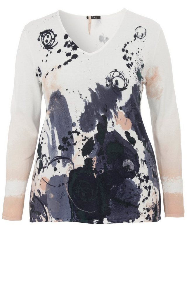 FRAPP Pullover mit Print-Muster in DUSTY APRICOT MULTIC
