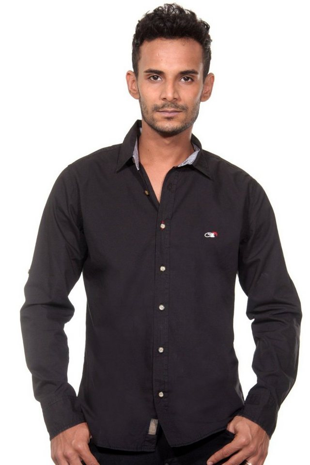 CAZADOR Langarmhemd in schwarz