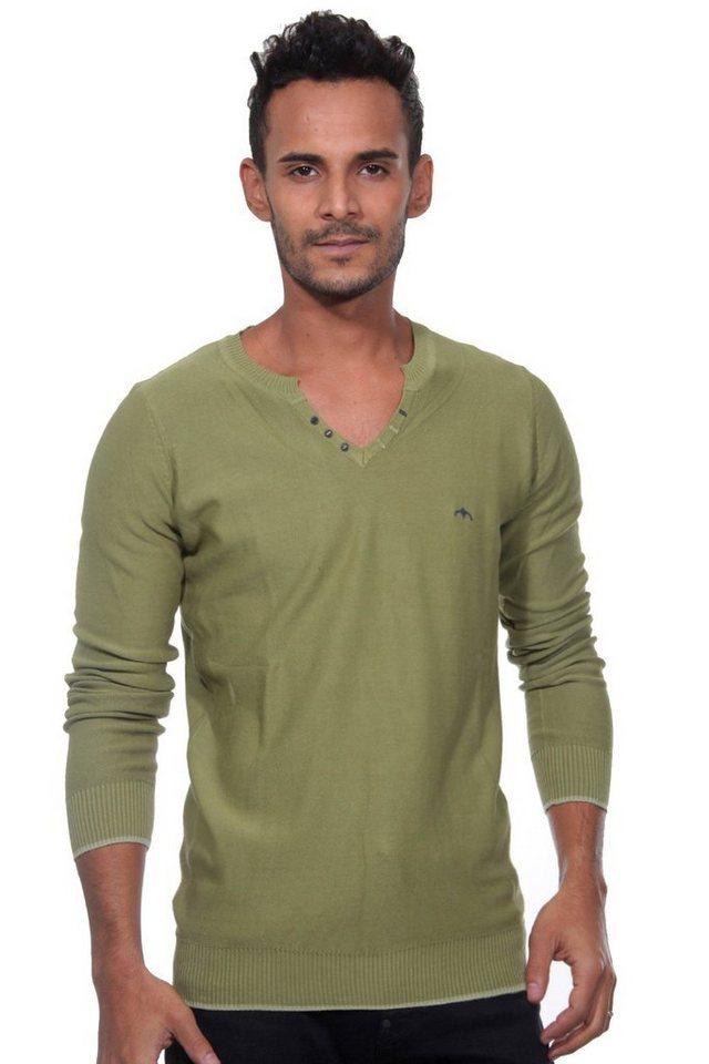 CAZADOR Pullover V-Ausschnitt slim fit in oliv