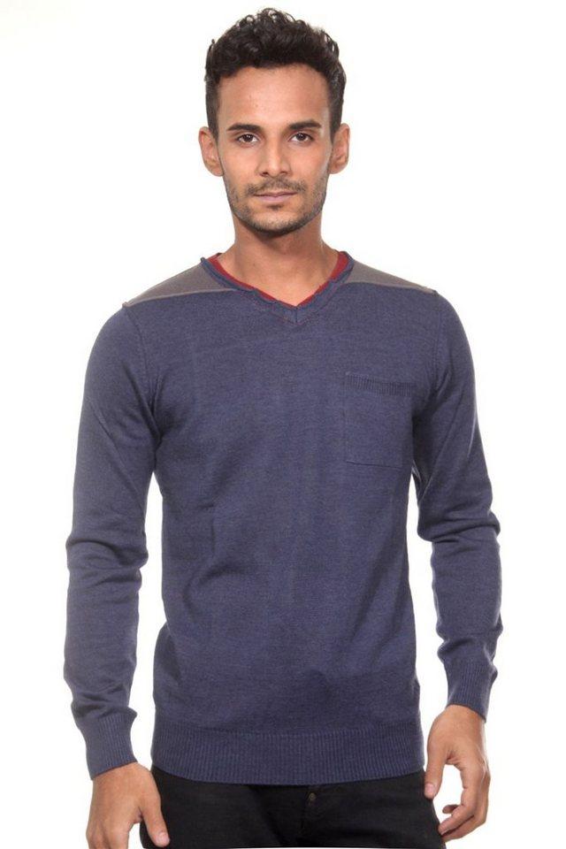 CAZADOR Pullover V-Ausschnitt slim fit in indigo