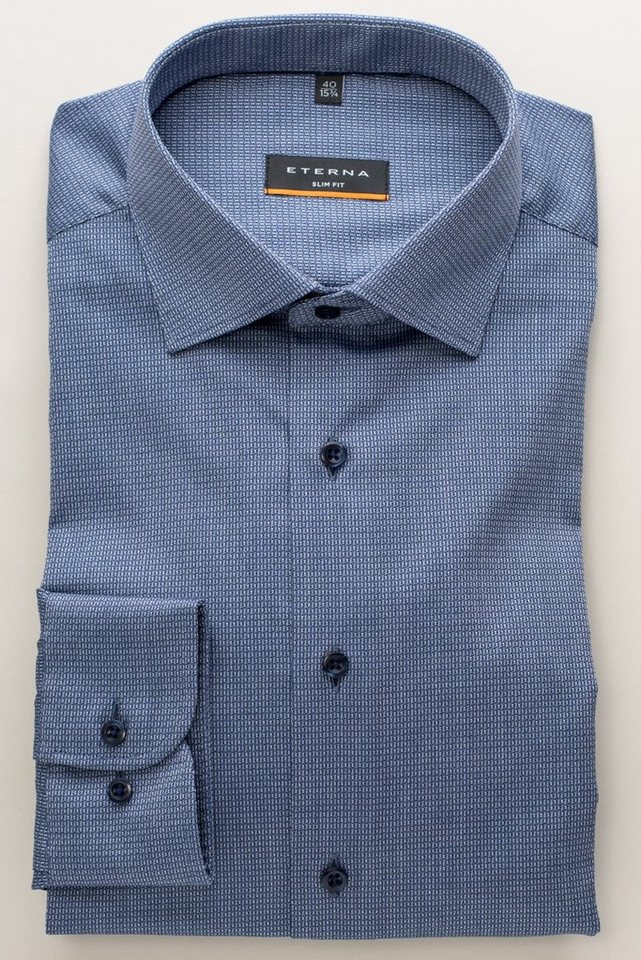 ETERNA Langarm Hemd »SLIM FIT« in blau