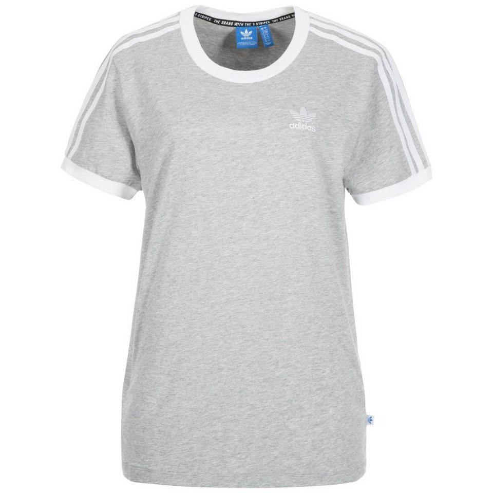 adidas Originals 3-Stripes T-Shirt Damen in grau / weiß