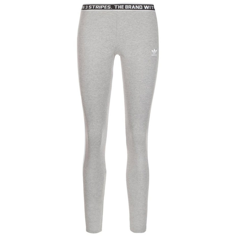 adidas Originals 3-Streifen Leggings Damen in grau / weiß